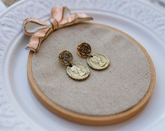 Copy antique coin series earrings --two