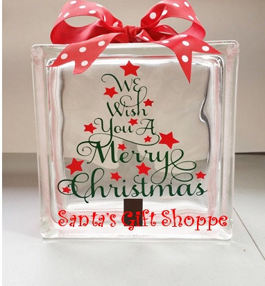Christmas vinyl lettering glass block crafts we wish you for Glass blocks for crafts lowes