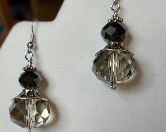 Smokey Crystal & Silver Earrings
