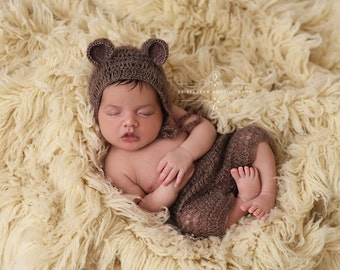 Toffee Brown Mohair Teddy Bear Hat and Shorts Set Newborn Baby Photography Prop