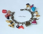 Legend of Zelda Ocarina of Time Charm Bracelet Antique Gold Tone Handmade Custom OOAK One of a Kind by TorresDesigns - Ready To ship