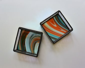 Stained Glass Box in Orange and Turquoise