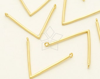 PD-1102-MG / 2 Pcs - V shape, L shape Pendant Charms, Matte Gold Plated over Brass / 25mm x 19mm