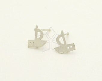 SI-744-MS / 2 Pcs - Sailing Ship Earrings, Sailing Boat Stud Earrings, Matte Silver Plated, with .925 Sterling Silver Post / 8.7mm x 9mm