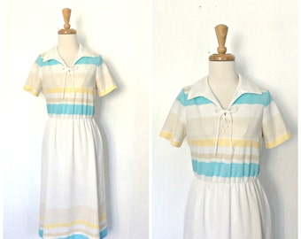 Vintage 1970s Dress - shift dress - resort wear - Toby George - knee length - sheath - sundress -  vacation dress - M