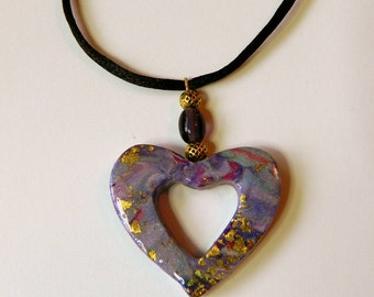 Heart Pendant Purple Heart Pendant Blue Heart Pendant Valentine's Day Pendant