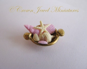 1:12 Chocolate Seashell Assortment in Nautical Candy Bowl by IGMA Artisan Robin Brady-Boxwell - Crown Jewel Miniatures