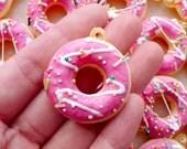 Kawaii Squishy Charm / Donut Squishy / Fake Doughnut Charm with Sprinkles & Frosting (30mm x 35mm / Strawberry Pink) Phone Charm Making SQ10