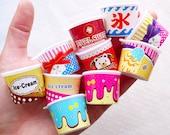 Dollhouse Ice Cream Cup Charms / Miniature Parfait Sundae Cups / Mini Frozen Yogurt Cup (4pcs by Random / 30mm x 23mm) Fake Sweets MC50