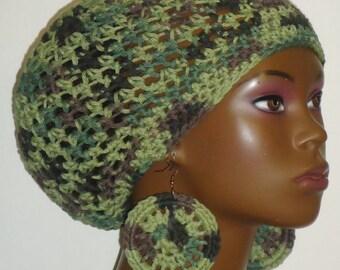 100% Cotton Camouflage Cotton Crochet Beret Tam and Earrings by Razonda Lee Razondalee