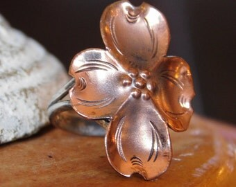 Designer Dogwood Ring in Copper and Sterling Silver Size 5