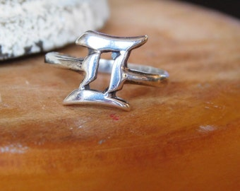 Unique Sterling Silver Pi Ring Size 6