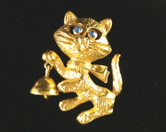 Avon Cat Brooch, Cat Jewelry, Cat Brooch with Bell, Animal Jewelry, Vintage Jewelry, Vintage Brooch, Avon Brooch, Cute Brooch, Animal Lover