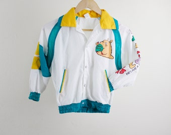 "Vintage 80's Totoro child's windbreaker, ""He Live A Comfortable Life"" white with yellow & teal accents, light spot on front, Child's size"