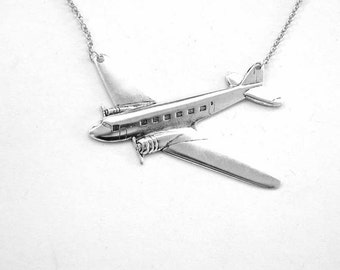 silver airplane necklace - pan am jewelry