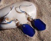 Sea Glass Earrings in Cobalt Blue with Pearl Bead Accents on Sterling Silver French Ear Wires EB 34