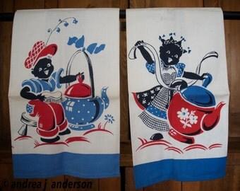 Pair of Vintage Black Americana unused Dish towels