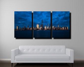 "New York Skyline Canvas, 24""x48"", Manhattan Skyline, New York Art, Fine Art Color"