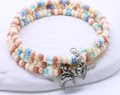 Southwestern Pastel Bracelet - Ivory White, Salmon Pink, Light Blue, Mint Green Czech Glass Seed Beads, Rabbit or Heart Charms