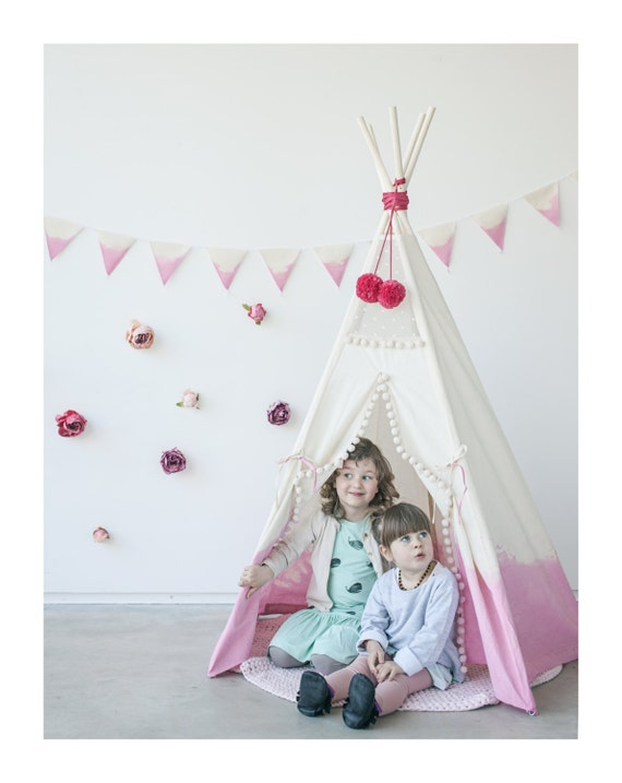 Like this item?  sc 1 st  Etsy & Girls play tent/ girls teepee/ dip-dyed/ 5 pole kids tipi/
