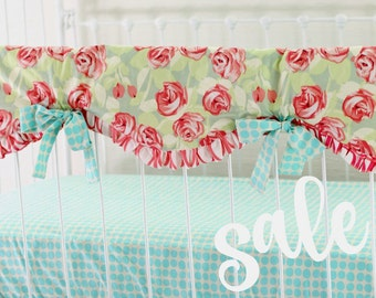 SALE* 30% OFF 3-Piece Baby Girl Bedding Set, Tumbling Roses Coral and Aqua Crib Bedding for a Bumperless Nursery - LottieDaBaby Spring Sale