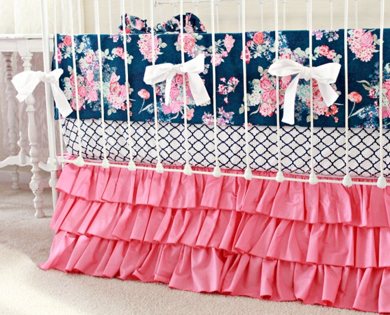 Hot Pink and Navy Baby Girl Bedding custom crib bedding navy