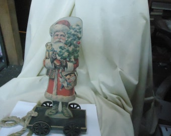 Vintage Wooden Santa Claus Pull Toy On Wheels, collectable