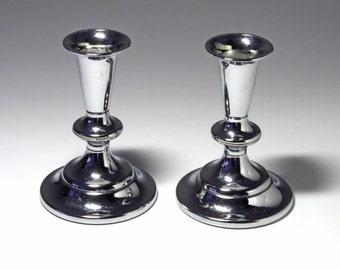 Vintage Silver Kromex Candle Holders in Original Box - circa 1950's