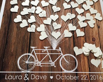 Wedding Guestbook Print, Guest Book Alternative, Wedding Tree Guestbook, Tandem Bicycle with Hearts, Wood Guest Book, Wedding Signature