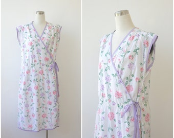 White Floral Wrap Plus Size Dress White Floral Dress Cotton Summer Dress XXL