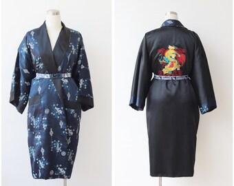 25% off Sale. Embroidered Kimono Robe Reversible Asian Satin Robe Dragon Embroidery Duster Jacket Robe