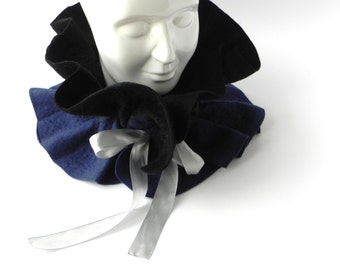 Felt scarf, blue balck felt scarf, woman scarf, warm accessory, Great gift idea, gift for mother, Gift for her, CHRISTMAS GIFT