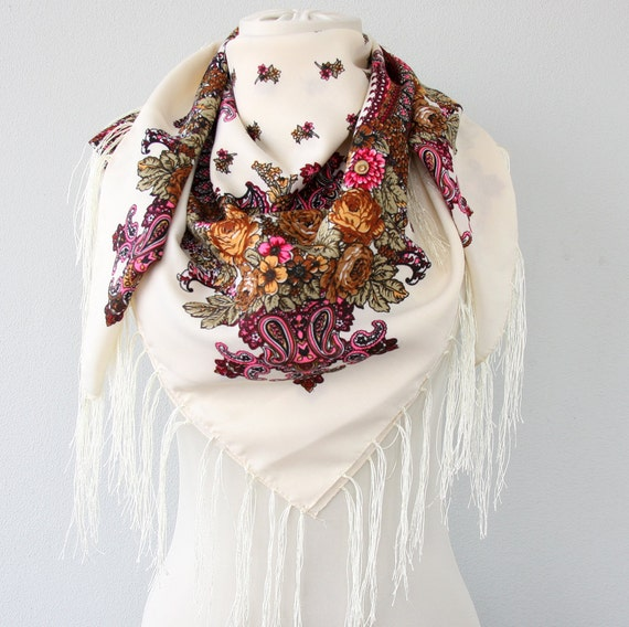 Cream Russian scarf fringe scarf Russian shawl Ukrainian scarf Ukrainian shawl christmas gift for her ethnic scarf gift for mom vegan scarf