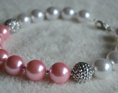 Light Pink and White Pearl Chunky Necklace, Girls Photo Prop