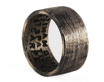 Mens Wedding Band Rustic Bronze Oxidized Plain Man Rings Personalized