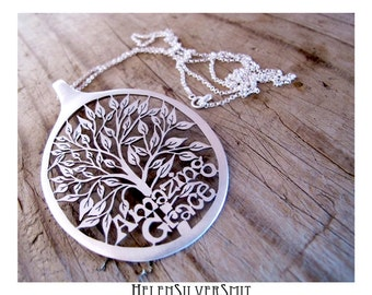 Personalized Customized Tree of Life Monogram Necklace Unique cut out Soup spoon Pendant custom text Tree art Statement Pendant long chain