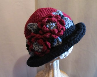 Fabulous Crocheted Hat with Flowers and Leaves.....Tri Colored Turn of the Century Style....Red Black and Grey