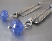 Tanzanite and Sterling Silver Handmade Rectangle Earrings