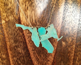 "Patina ""I Left my Heart in"" 3 States Necklace"