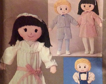 Vintage Sewing Pattern Stuffed Girl and Boy Dolls Yarn Hair Clothing Shoes Embroidered Faces