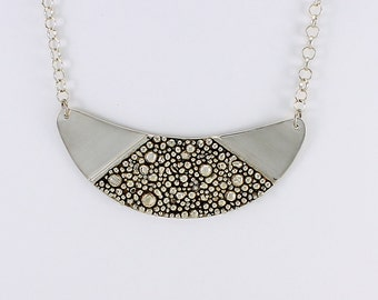 Handcrafted Sterling Silver Crescent Necklace Organic Pebble Design Sophisticated Statement Contemporary Artisan Jewelry 1147450611314