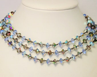 Vintage blue crystal necklace. 3 row necklace. 3 strand necklace