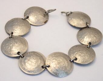 Vintage coin bracelet. Peru coin bracelet