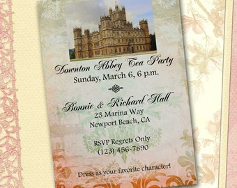 Downton Abbey Invitation, DIY Printable Download, Downton Abbey Tea Party, Costume Party, Highclere Castle, Grantham Crawley/DIY Invitation