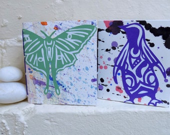 Set of Two Small Blank Journal Notebook Sketchbook - Penguin and Luna Moth