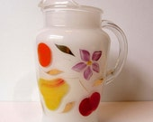 Bartlett Collins Opaque White Pitcher / Gay Fad Hand Painted Design / Nice Condition