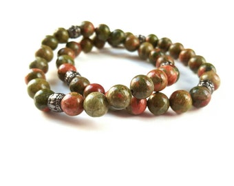 Mens gemstone stretch bracelet-unakite stretch bracelet- yoga bracelet