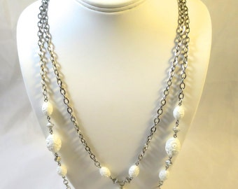 "Vintage Silver Chain Necklace Signed Sarah Coventry "" Summer Flirt"" 2 in 1 Chain Necklace White Lucite Flower Beads 1970s 28 in length"
