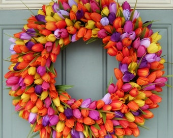 Wreath - Wreath for Spring  - Spring Tulip Wreath - Front Door Wreath