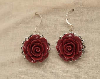 Handmade Burgundy Rose Earrings Burgundy Resin Flower Earrings Burgundy Rose Dangle Earrings Burgundy Flower Earrings